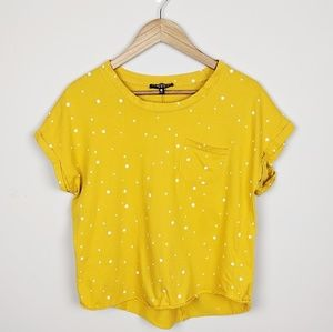 Mustard Yellow Cropped Tshirt Stars Rolled Sleeves